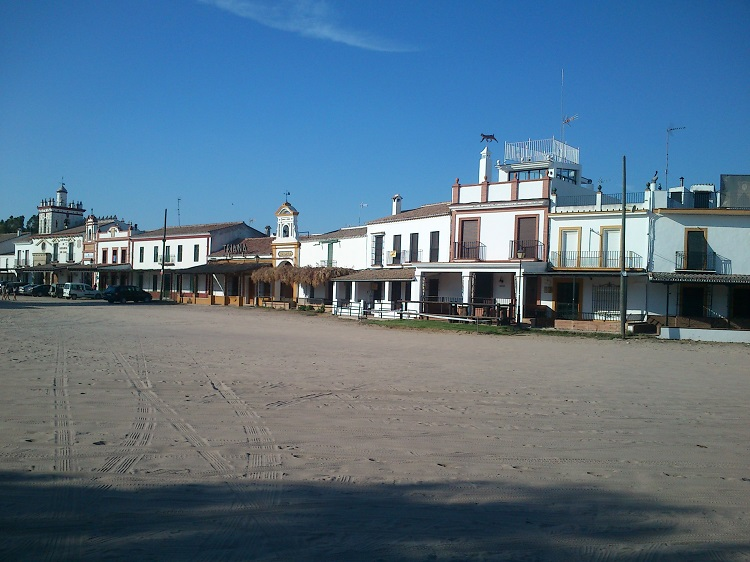 The central square of El Rocio with sand all over